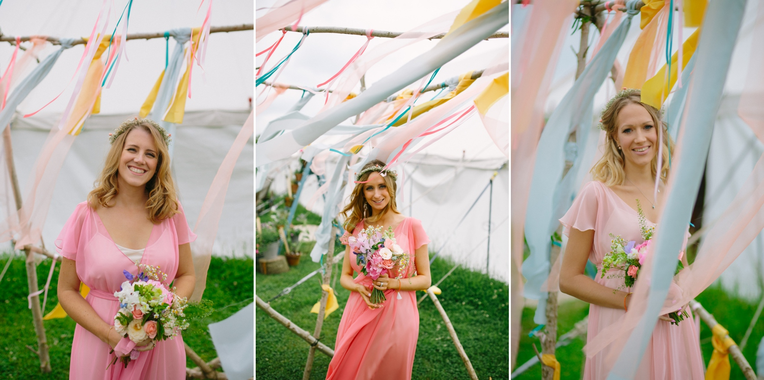 bridesmaids in ribbons at old oak farm