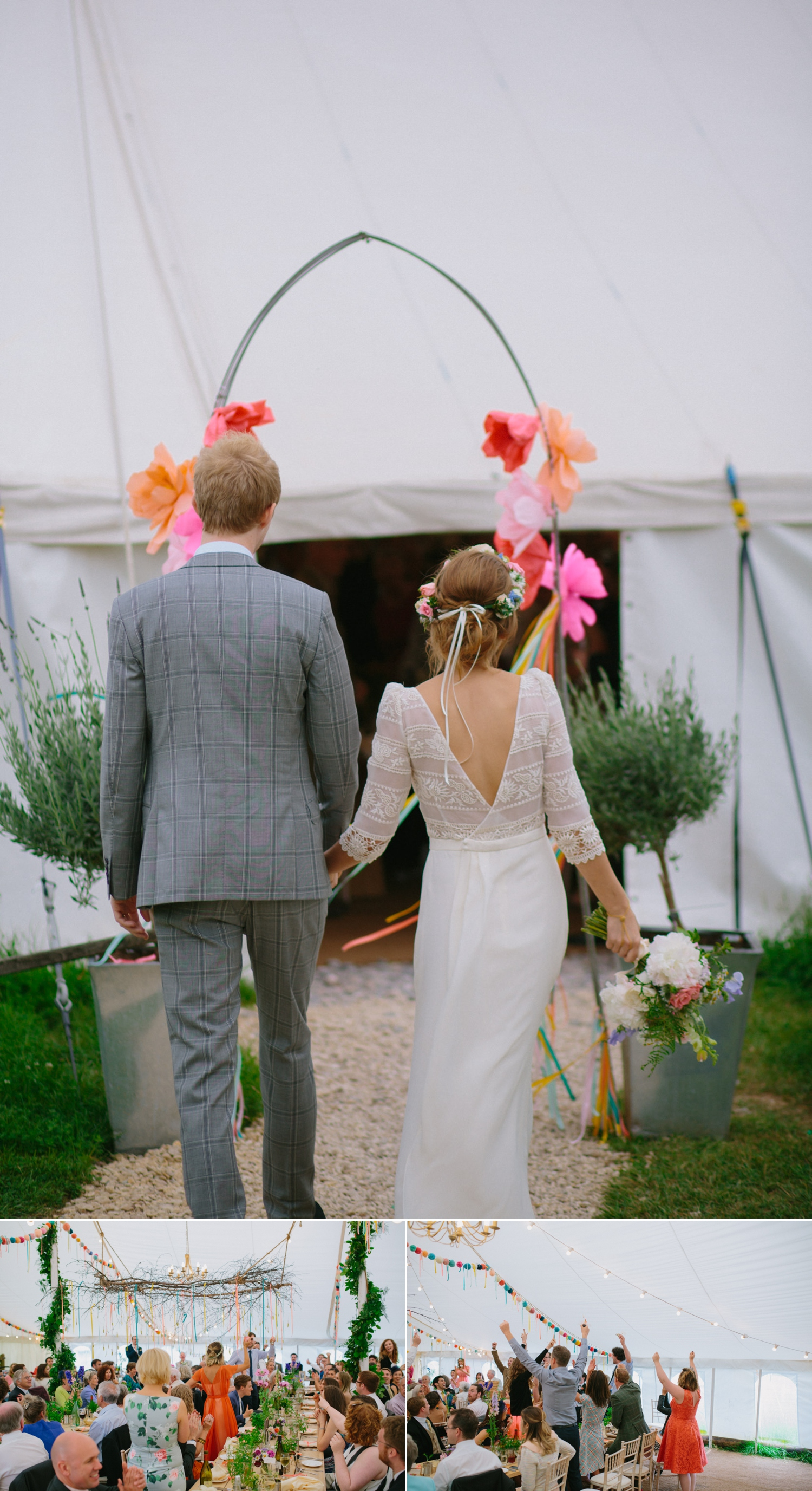 bride and groom make entrance at old oak farm