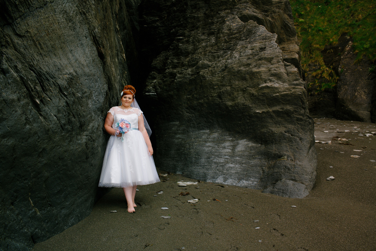 bridal portraits at tunnels beaches in Ilfracombe