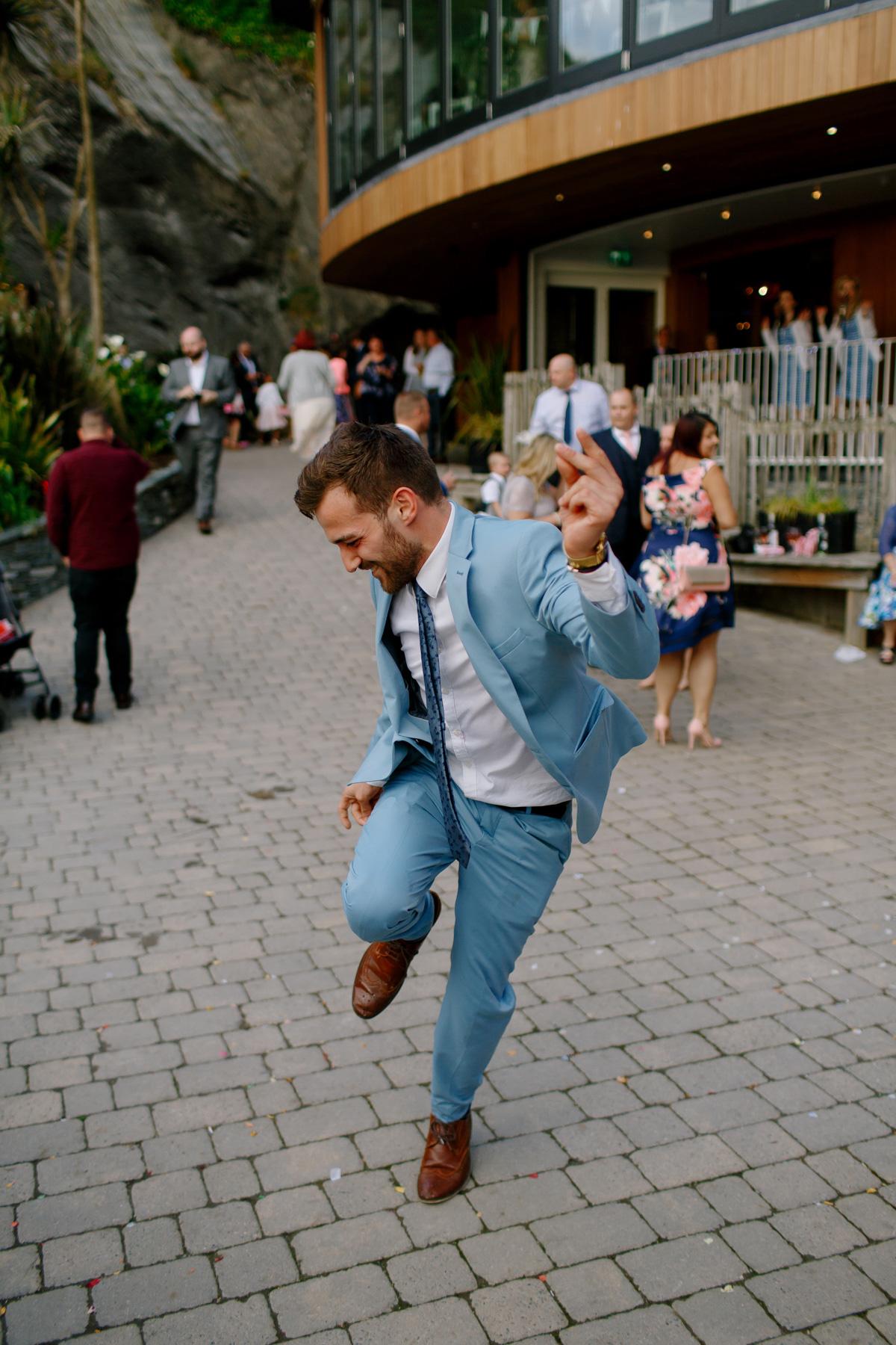 guest dances at wedding in Devon
