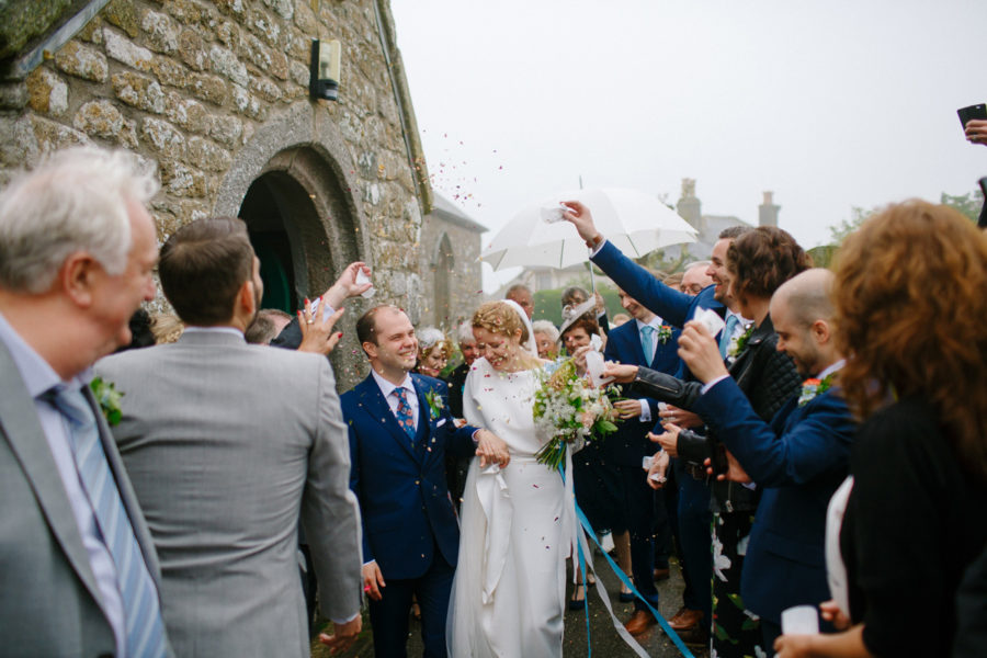 confetti for the bride and groom after they leave church