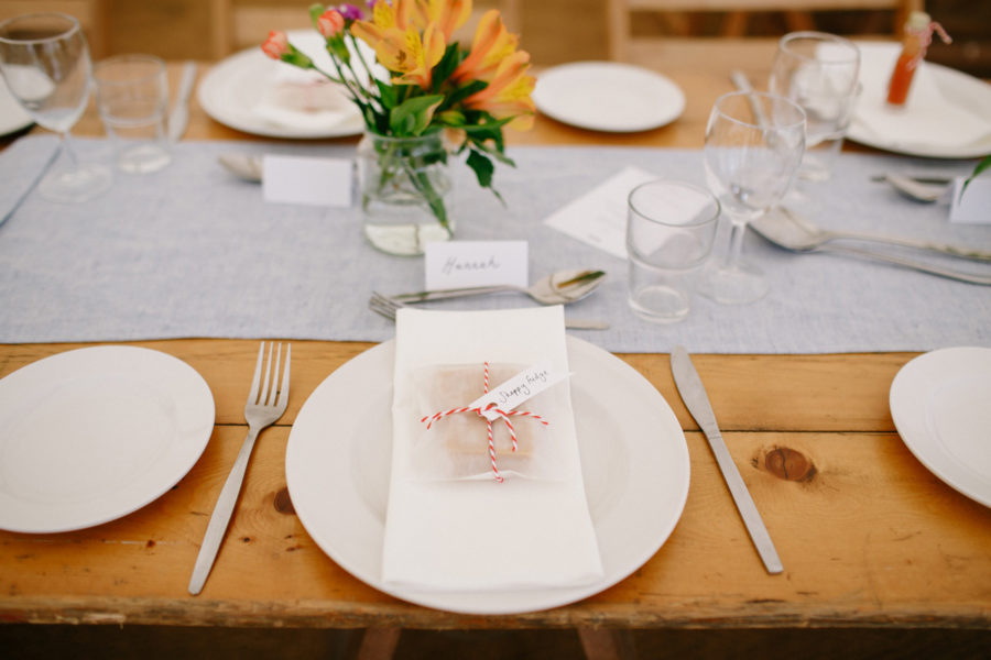 table setting for a cornish marquee wedding