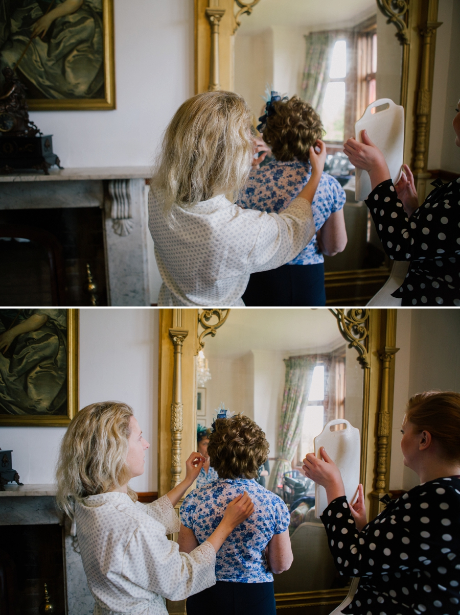 Mother of bride getting ready at a Huntsham Court Wedding