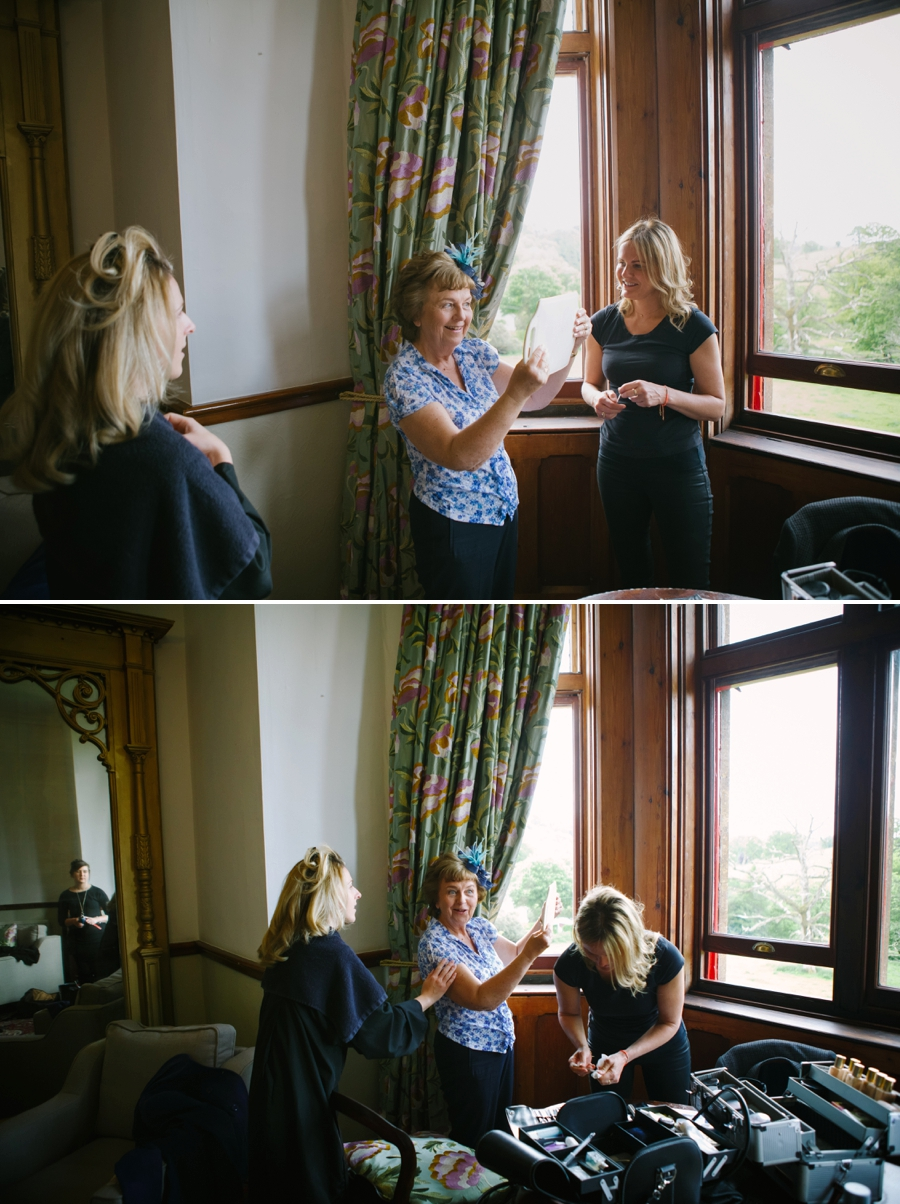 Mother of the bride getting ready for a devon wedding