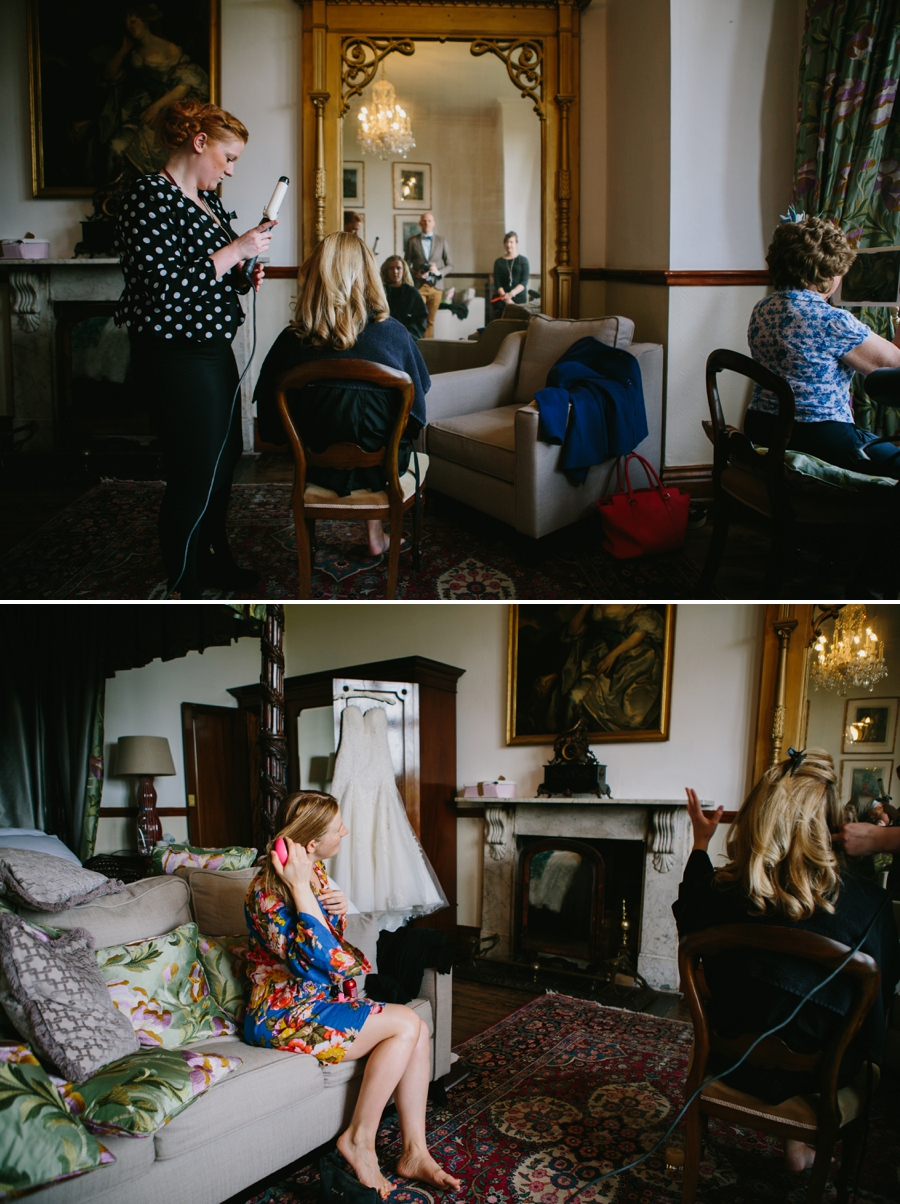 Wedding preparations at huntsham court