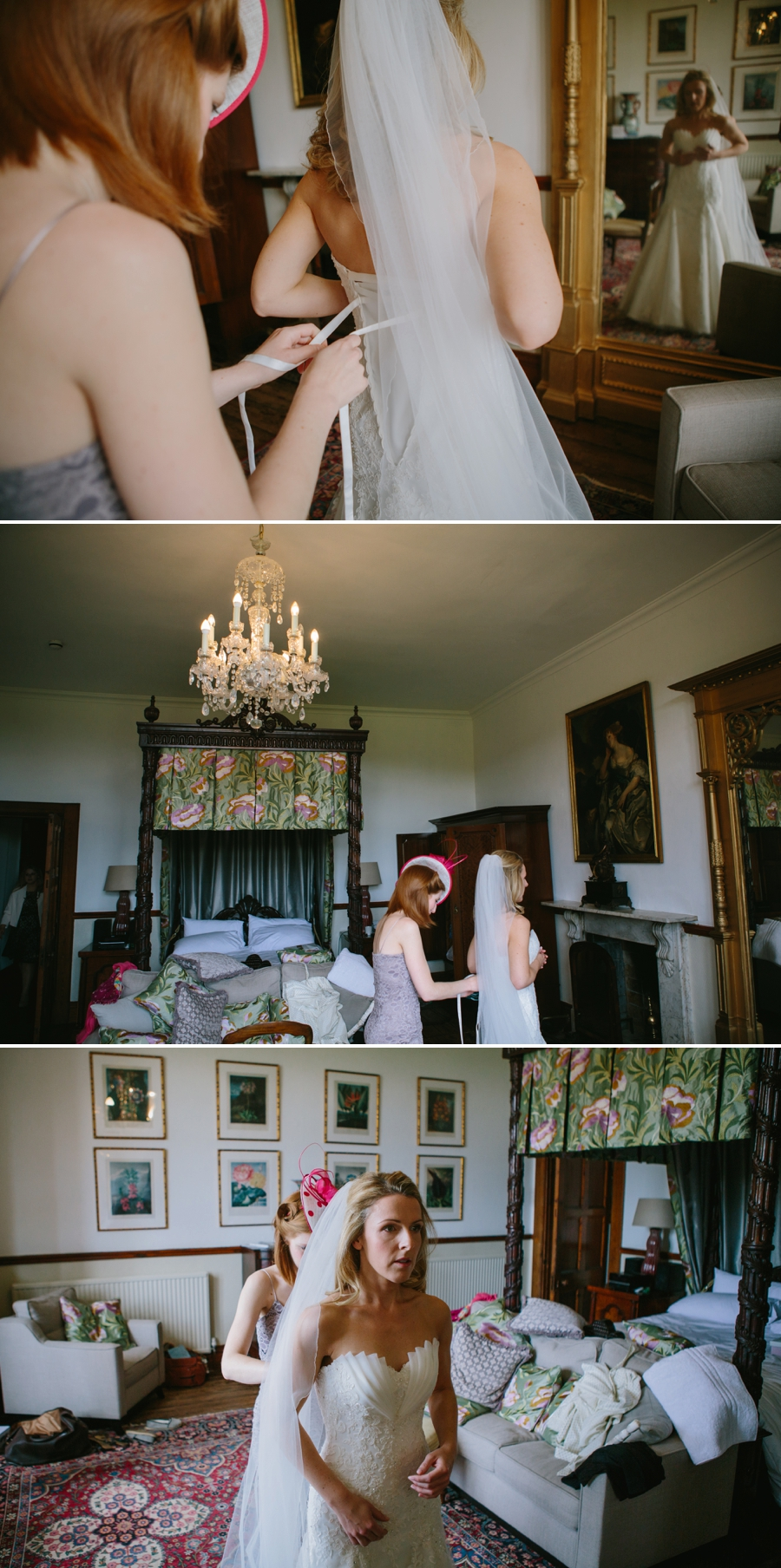 bride getting into her wedding dress in the Douglas room