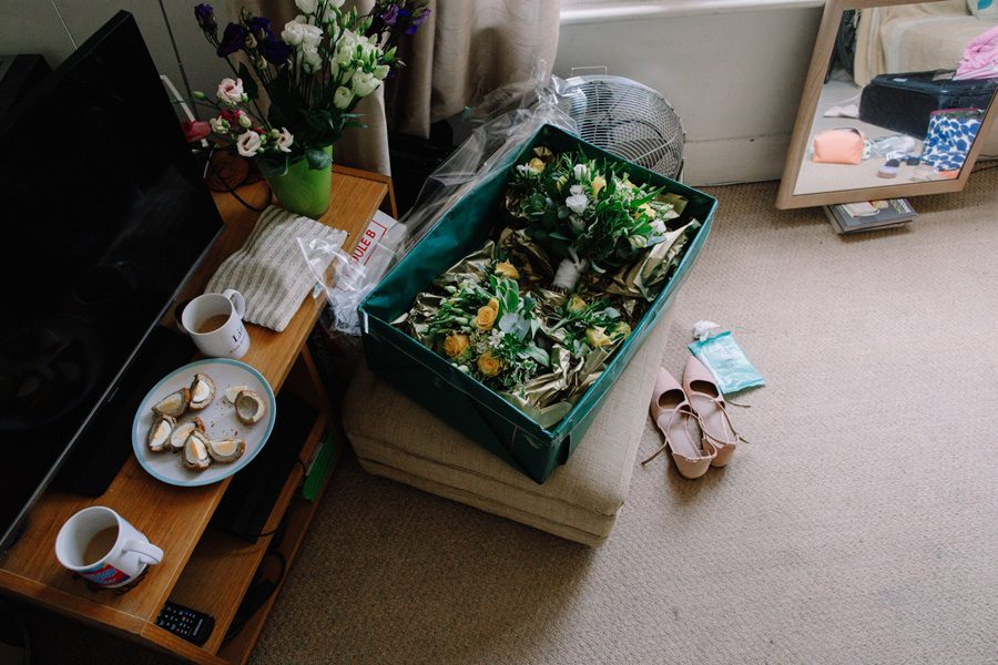 wedding flowers and shoes and scotch eggs