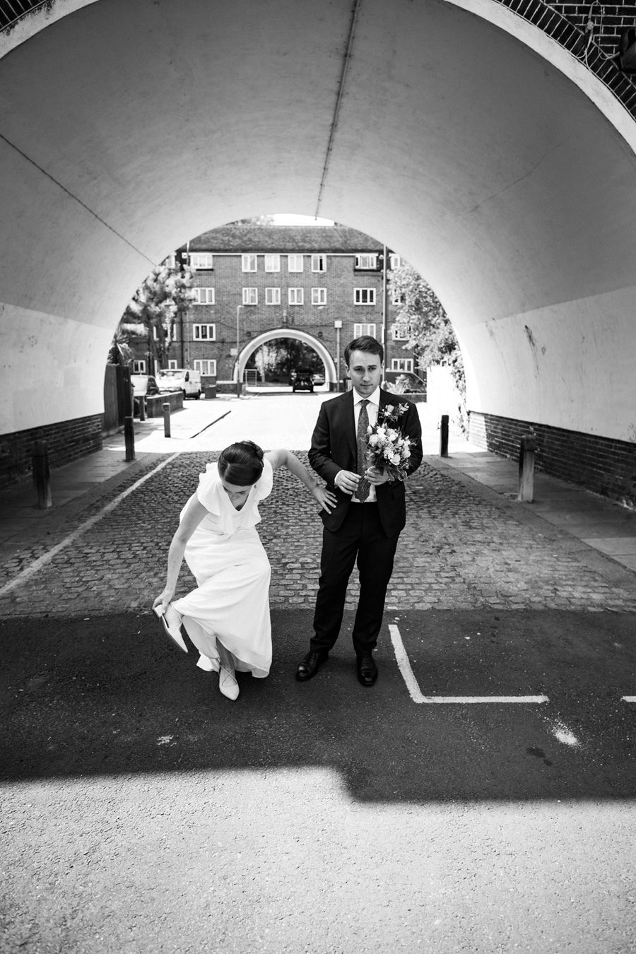 Bride and Groom on the Henry Prince estate in Earlsfield