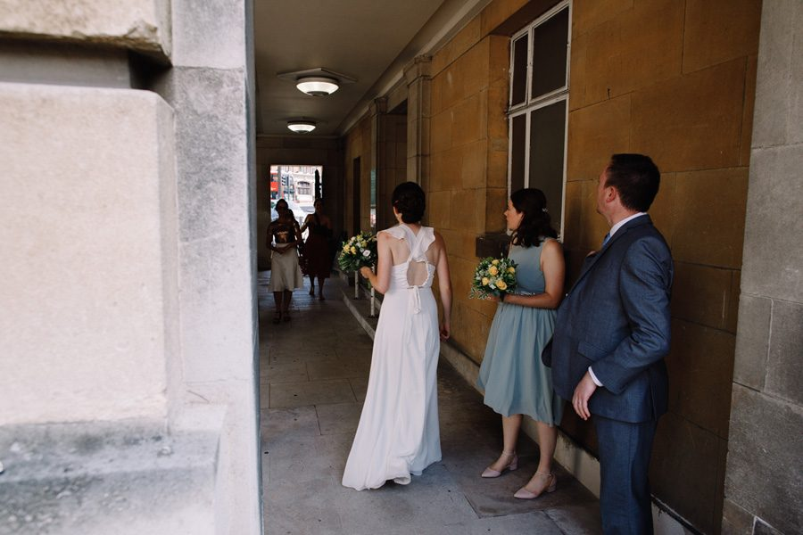 Guests start to arrive at Wandsworth Town Hall for a wedding