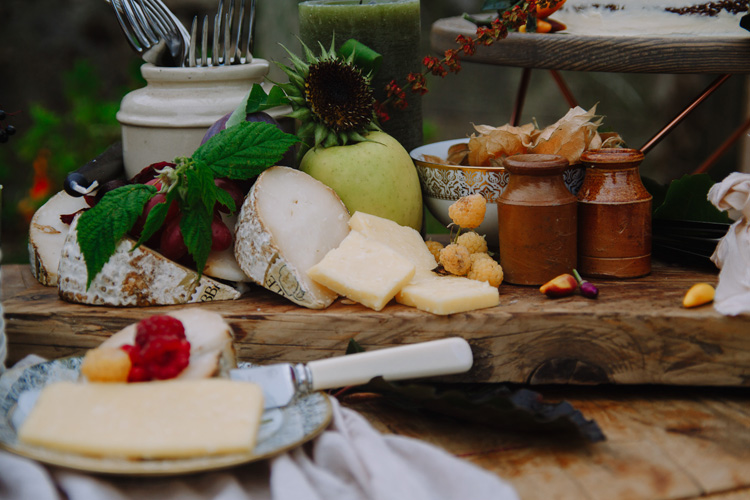 A delicious spread of wedding food with cheese and bread