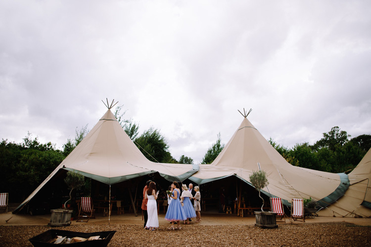 The tipis set up at Chew Valley Weddings