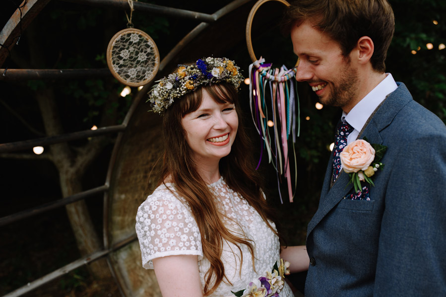 a smiling bride at her festival wedding in bristol