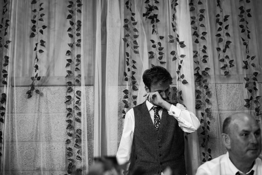 the groom crying during his wedding speech