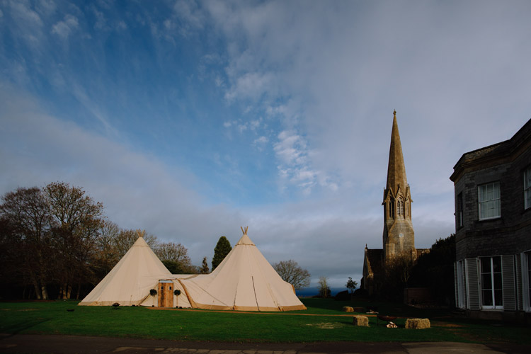 Wedding tipi for an outdoor wedding in Glastonbury