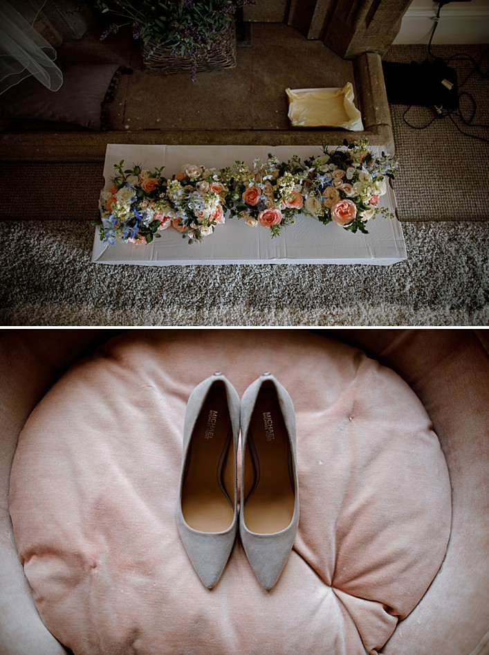 brides shoes and flowers ahead of her wedding