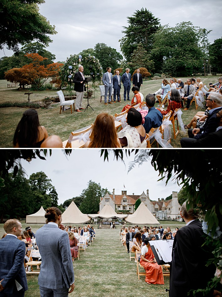 guests await the arrival of the bride at an outdoor wedding