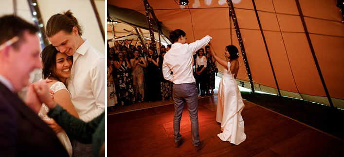 first dance in the tipi for the bride and groom