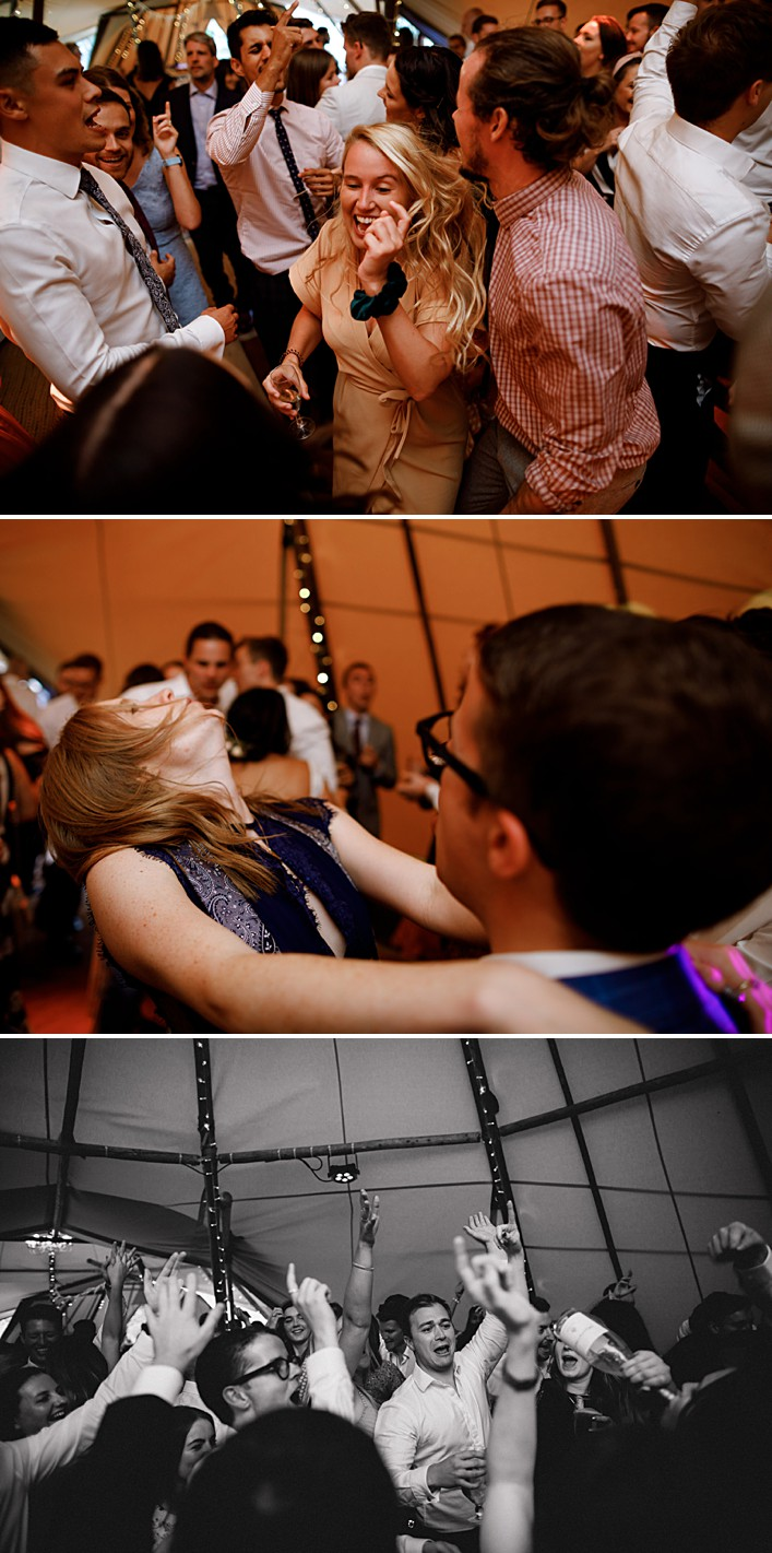 guests go crazy on the dancefloor at this tipi wedding