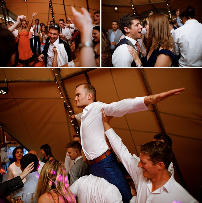 a guest leaps high at a wedding party